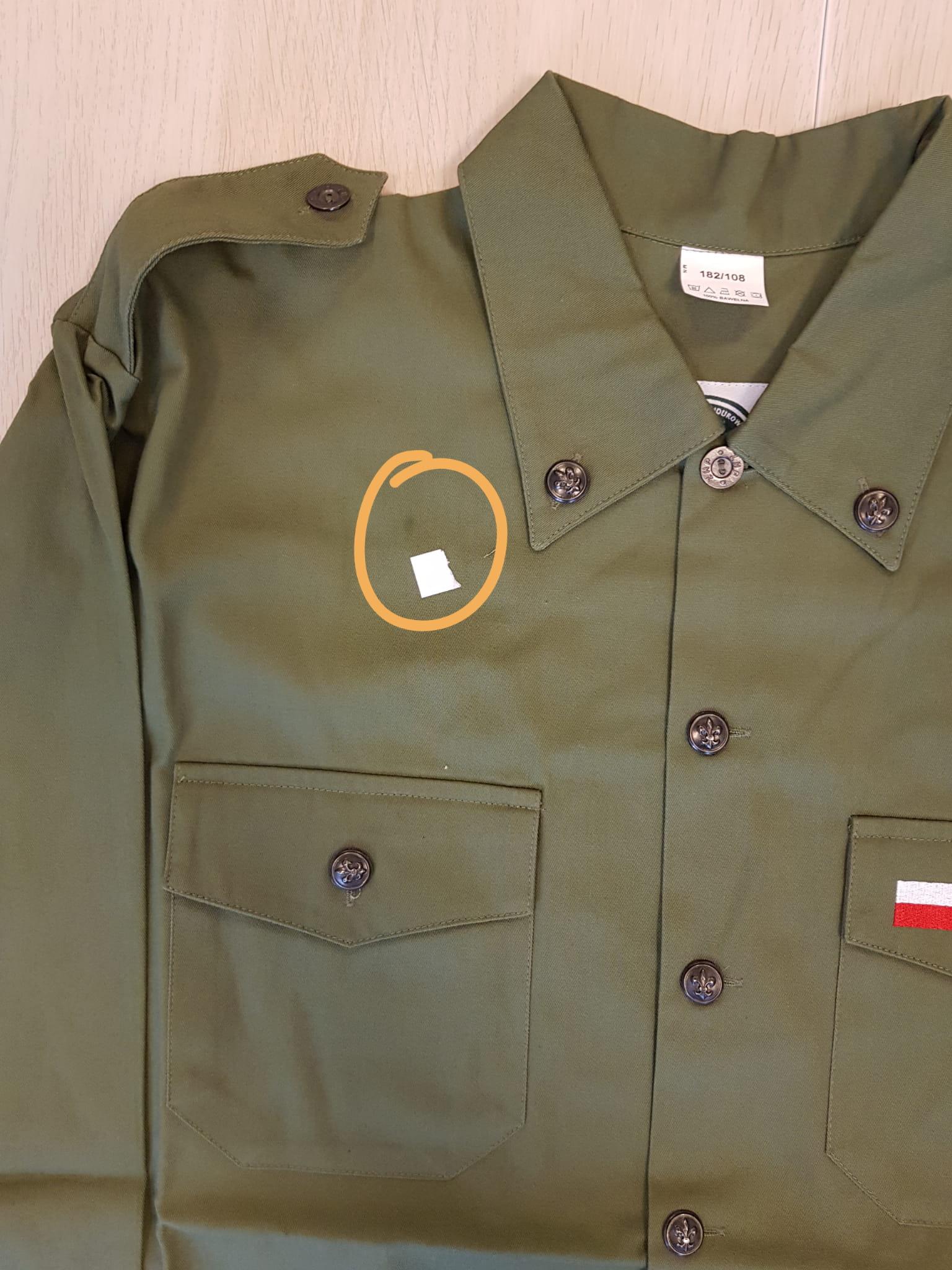 49b672c73ae113 Mundur harcerski ZHP / Bluza harcerska / Koszula mundurowa męska ZHP ·  PRZYKŁADOWA WADA PRODUKCYJNA KOSZULI W OUTLECIE : MAŁA PLAMA ...